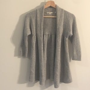 Vince. Cashmere Gray Baby Doll Open Cardigan, XS